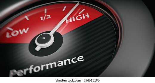 High performance concept. Car indicator high performance close up. 3d illustration