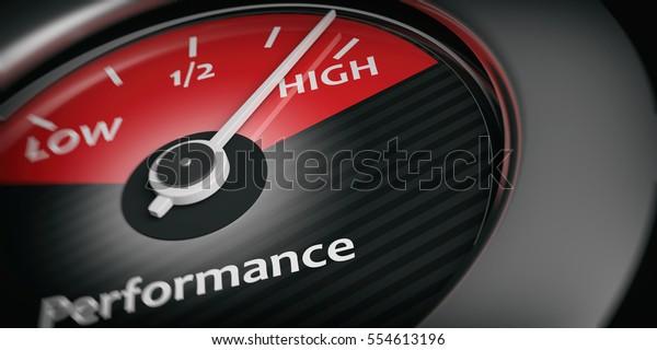 Hochleistungskonzept. Autoindikator für hohe Leistung, Nahaufnahme. 3D-Illustration