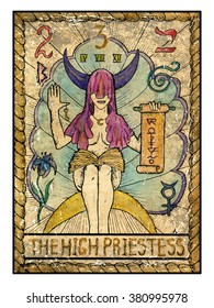 The high priestess.  Full colorful deck, major arcana. The old tarot card, vintage hand drawn engraved illustration with mystic symbols. Woman with face closed by hood holding scroll