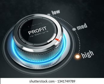 High Profit level concept - Profit level control button on high position. 3d rendering