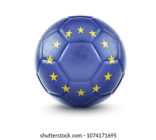 High qualitiy rendering of a soccer ball with the flag of Europe.(series). 3D  rendering.