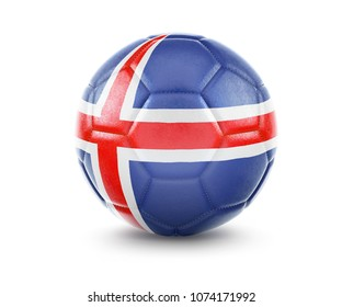 High qualitiy rendering of a soccer ball with the flag of Iceland.(series). 3D  rendering.