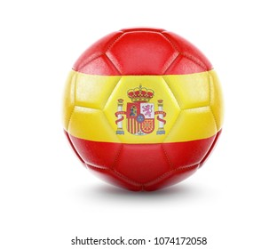 High qualitiy rendering of a soccer ball with the flag of Spain.(series)