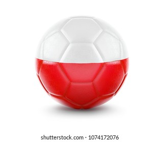 High qualitiy rendering of a soccer ball with the flag of Poland.(series)