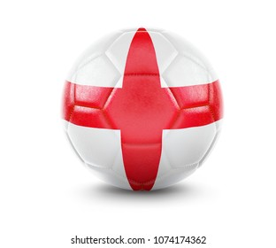 High qualitiy rendering of a soccer ball with the flag of England.(series). 3D  rendering.