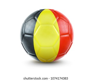 High qualitiy rendering of a soccer ball with the flag of Belgium.(series). 3D  rendering.
