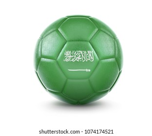High qualitiy rendering of a soccer ball with the flag of Saudi Arabia.(series). 3D  rendering.