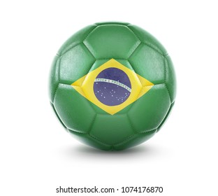 High qualitiy rendering of a soccer ball with the flag of Brazil.(series). 3D  rendering.