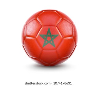 High qualitiy rendering of a soccer ball with the flag of Morocco.(series). 3D  rendering.