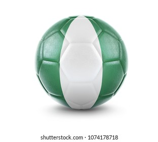 High qualitiy rendering of a soccer ball with the flag of Nigeria.(series). 3D  rendering.