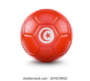 High qualitiy rendering of a soccer ball with the flag of Tunisia.(series). 3D  rendering.