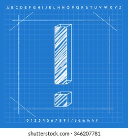 High quality 3D blueprint font. Exclamation mark symbol.