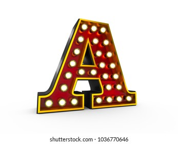 High quality 3D illustration of the letter A in Broadway style with light bulbs illuminating it over white background
