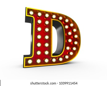 High quality 3D illustration of the letter D in Broadway style with light bulbs illuminating it over white background