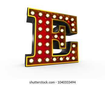 High quality 3D illustration of the letter E in Broadway style with light bulbs illuminating it over white background