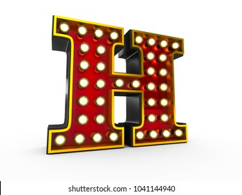High quality 3D illustration of the letter H in Broadway style with light bulbs illuminating it over white background