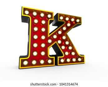 High quality 3D illustration of the letter K in Broadway style with light bulbs illuminating it over white background