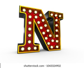 High quality 3D illustration of the letter N in Broadway style with light bulbs illuminating it over white background
