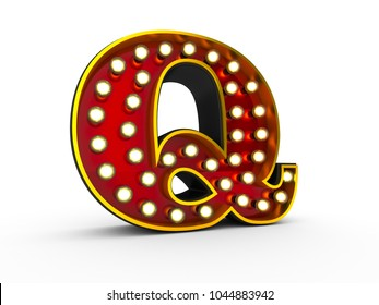 High quality 3D illustration of the letter Q in Broadway style with light bulbs illuminating it over white background