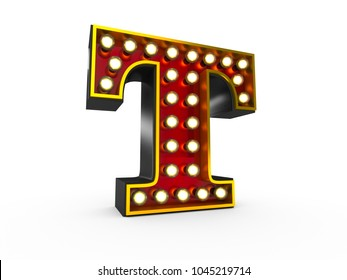 High quality 3D illustration of the letter T in Broadway style with light bulbs illuminating it over white background