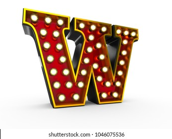 High quality 3D illustration of the letter W in Broadway style with light bulbs illuminating it over white background