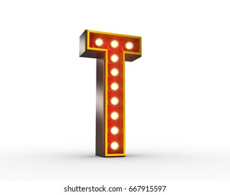 High quality 3D illustration of the letter T in vintage style with light bulbs illuminating it.