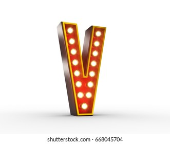 High quality 3D illustration of the letter V in vintage style with light bulbs illuminating it.