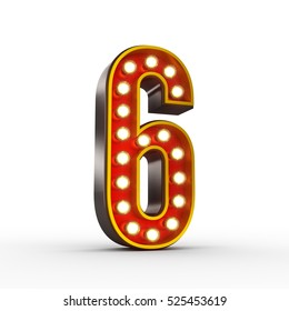 High quality 3D illustration of the number six in vintage style with light bulbs illuminating it. Clipping path included.