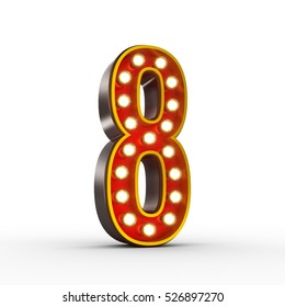 High quality 3D illustration of the number eight in vintage style with light bulbs illuminating it. Clipping path included.