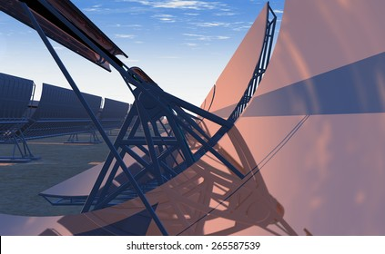 High Quality 3D render of concentrated solar power (CSP) panels tracking the sun in the desert. Early evening yellow-orange sky with the sun just moving lower on the reflected horizon.