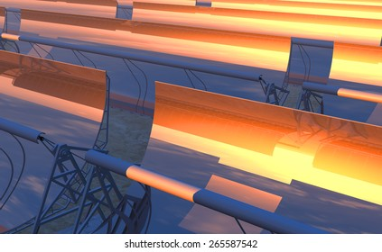 High Quality 3D render of concentrated solar power (CSP) panels tracking the sun in the desert. Bright red-orange sky at dusk with the sun about to disappear on the reflected horizon.