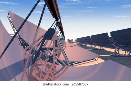 High Quality 3D render of concentrated solar power (CSP) panels tracking the sun in the desert. Mid-morning sun rising on the reflected horizon.