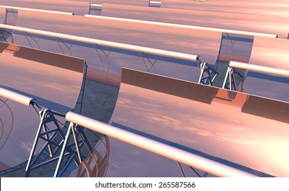 High Quality 3D render of concentrated solar power (CSP) panels tracking the sun in the desert. Mid-afternoon sun just starting to descend on the reflected horizon.
