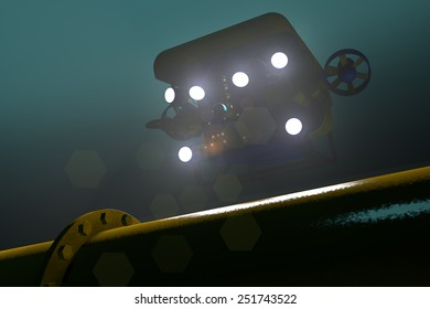 High quality 3D render of an ROV submersible locating a sub-sea pipeline deep underwater. Fictitious ROV is a unique design, created and modeled entirely by myself. Murky water to emphasize depth.