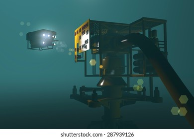 High quality 3D render of an ROV inspecting an underwater oil and gas wellhead. Fictitious ROV, oil and gas equipment. Murky water to emphasize depth, and blurred image for dramatic effect