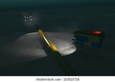 High quality 3D render of two ROV submersibles inspecting a sub-sea pipeline deep underwater. Fictitious ROV is a unique design, created and modeled entirely by myself. Murky water to emphasize depth.