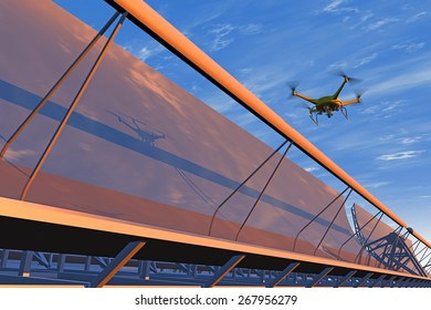 High quality 3D render of a UAV drone in flight inspecting concentrated solar panels. Drone is fictitious, reflected bright blue overcast sky, orange sunrise; motion blur for dramatic effect.