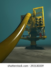 High quality 3D render of an underwater oil and gas wellhead. Fictitious oil and gas equipment. Murky water to emphasize depth, and blurred image for dramatic effect.