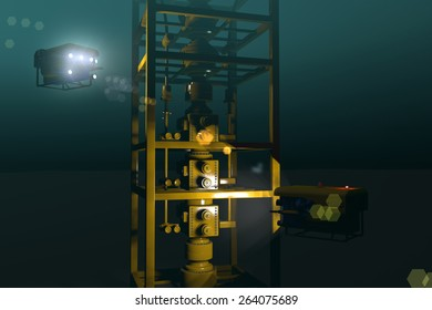High quality 3D rendering of ROVs inspecting underwater oil and gas equipment. Fictitious ROV is a unique design. Murky water to emphasize depth, lens flare for dramatic effect.