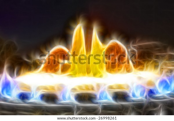 High quality abstract fractal rendered of  famous Montjuic Fountain in Barcelona.