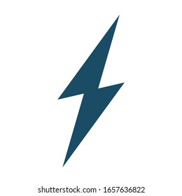 High quality dark blue flat lightning icon. Pictogram, technology, object. Useful for web site, banner, greeting cards, apps and social media posts.
