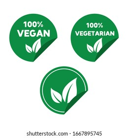 High quality green flat vegan, vegetarian label. Pictogram, food, drink, dessert. Useful for web site, banner, greeting cards, apps and social media posts.