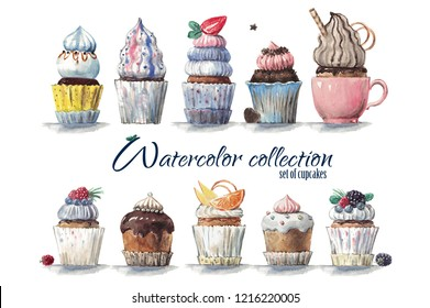 High quality hand painted watercolor cupcakes design for holidays,coffee shops,greeting cards,packaging,for party wedding invitations,scrapbooking paper,dessert cafe menu,stationery, blog design,D.I.Y