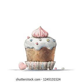 High quality hand painted watercolor cupcake design for holidays,coffee shops,greeting cards,packaging,for party wedding invitations,scrapbooking paper,dessert cafe menu,stationery, blog design,D.I.Y