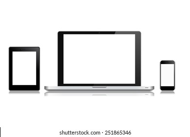 High quality illustration set of modern technology devices - computer monitor, laptop, digital tablet and mobile phone with blank screen. Isolated on white background.