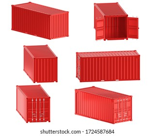 A high quality image of a red 20ft shipping container on a white background with clipping path. Twenty foot sea shipping container 3d render