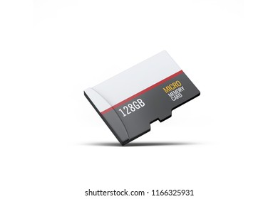 High quality realistic micro sd memory card on white background. Isolated on white. 3D rendering.