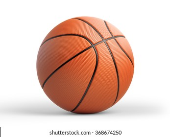 High quality render of 3D basket ball. It is isolated on white background. Clipping path is included.
