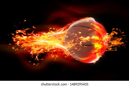 High quality render of 3D basketball ball is burning in flames on black background. 3D Rendering.