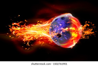 High quality render of 3D bowling ball is burning in flames on black background. 3D Rendering.